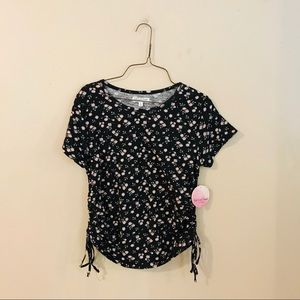 NWT Black Floral Tie Side Knit Top